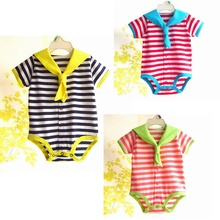 4pcs/lot Wholesale Cute Stripes Sailor Baby Bodysuit for Boy Girl Jumpsuit Kids Overall 2014 New Born Clothes Children Clothing(China (Mainland))