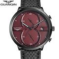 GUANQIN Fashion casual watch Men Luxury Brand Quartz Military Sport Watch Genuine Leather Men s Wristwatch