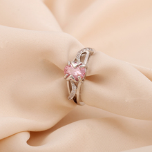 Silver Plated Women Girl s Fashion New Wedding Bridal Austrian Crystal Ruby Sapphire Ring Gift Jewelry