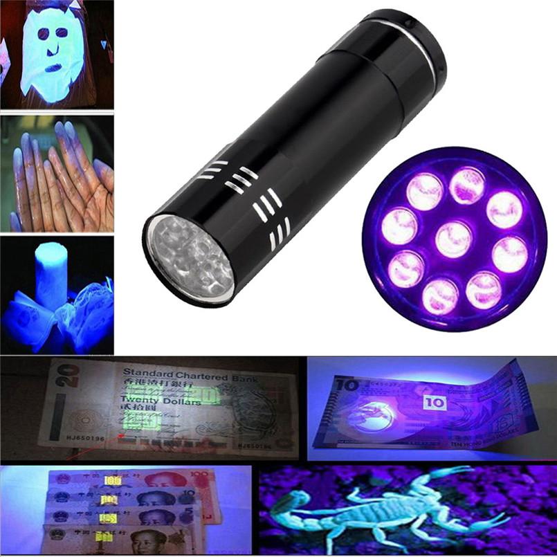2017 UV Ultra Violet 9 LED Flashlight AAA for Nail-painting Penlight Torch Light Lamp Free Shipping NOA28 P2B