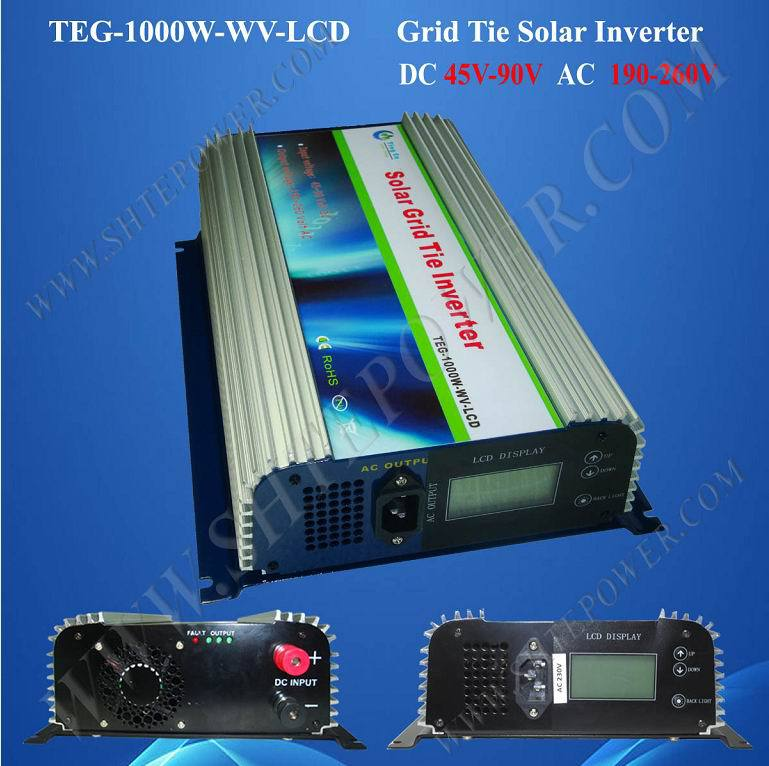 DC 45V-90V to AC Solar Power 1000W Grid Tie PV Inverter With LCD(China (Mainland))