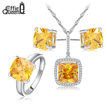 Effie Queen Fashion Wedding Jewelry Set Platinum Plated Yellow Zircon Necklace/Earrings/Ring Set Choose Size for Ring DAS009(China (Mainland))
