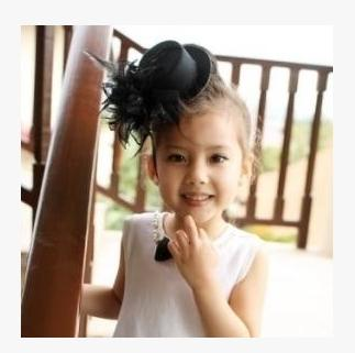Simplicity generosity performance clothing accessories black flower feather decoration small hat hairpin headdress(China (Mainland))
