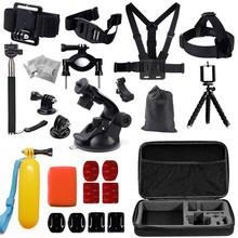 HOT Gopro accessories set car bracket+Large bag+J-Hook+ Monopod+Floating Hand Grip for go pro hero 4 3+ SJCAM SJ xiaomi yi GS26