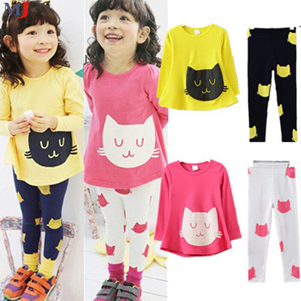 FreeShipping 2014 New Spring Autumn Kids Girl Clothes Set Cat T Shirt Color Leggings Children Clothing Sets 2 Colors - MJ store