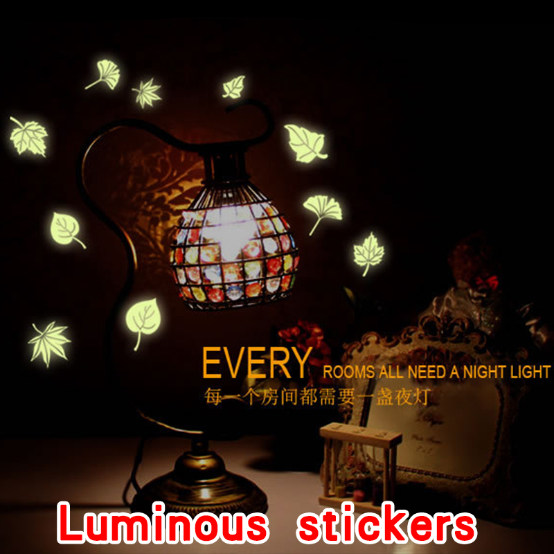 Luminous stickers Kids Bedroom Beautiful Fluorescent Glow In The Dark Wall Stickers Planet Space Leaf Maple leaves Glow(China (Mainland))