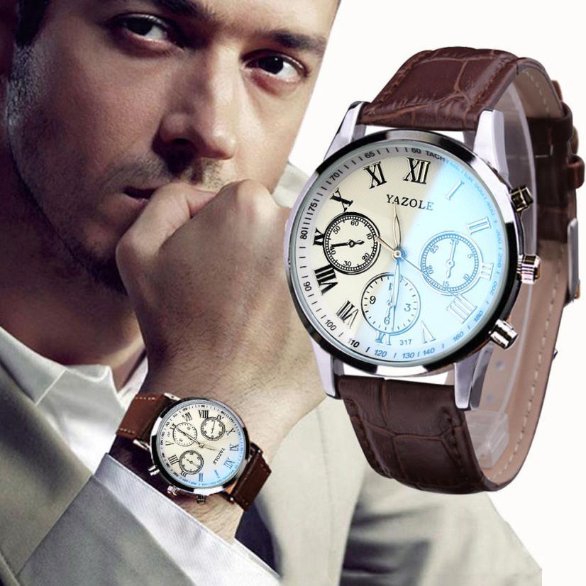 Essential Luxury Fashion Faux Leather Mens Blue Ray Glass Quartz Analog Wristwatches Bangle Bracelet Relojes Free Shipping Dec08<br><br>Aliexpress