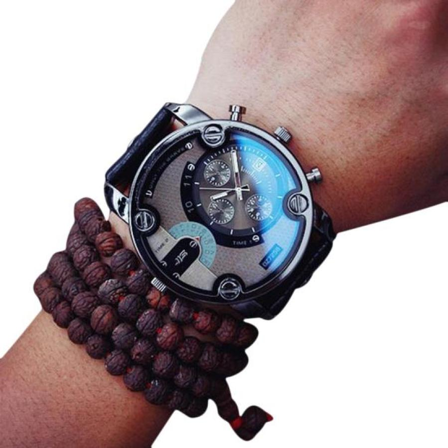 Blue Glass Big Dial Black Leather Quartz Men Watches Fashion&Casual Watch Sports Out Door Military Wristwatch relojio May19(China (Mainland))