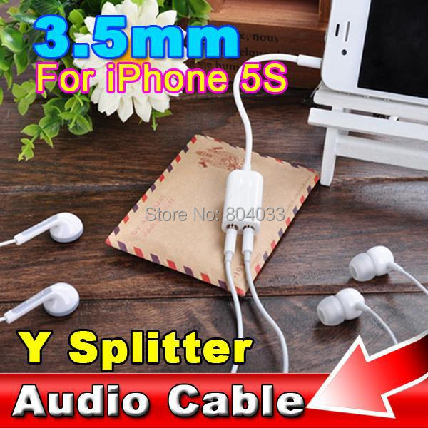 Jack 3.5 mm Dual male to Female Audio cables Splitter adapter two lovers Plug Stereo earphone headphone For iphone 4 5s S5 I9600(China (Mainland))