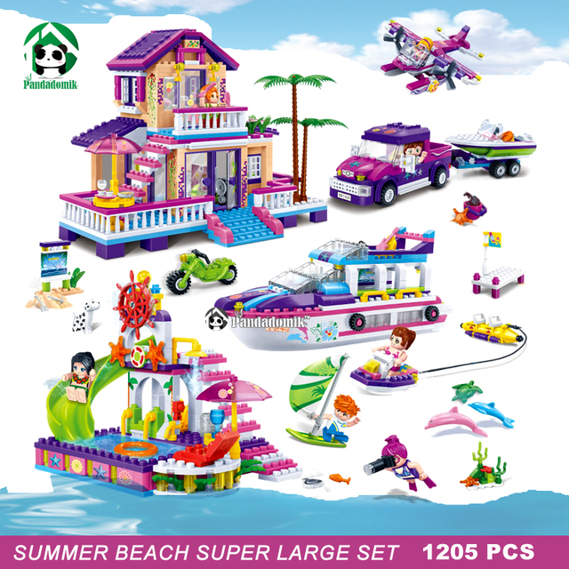 super large 1205pcs summer beach building blocks set. Black Bedroom Furniture Sets. Home Design Ideas