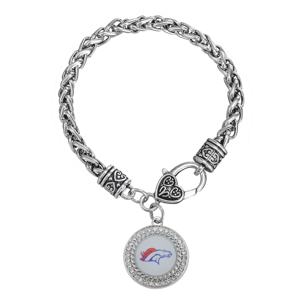 Clear Crystal Denver Football Sports Broncos Dis Dangle Lobster Clasp Men&Woman Biker Bracelets(China (Mainland))