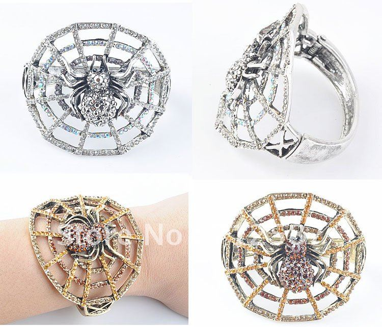 Fashion Bangles Bracelets silver/golden Colored Painted Star Crystal Hinged Bangles Free Shipping#7000(China (Mainland))