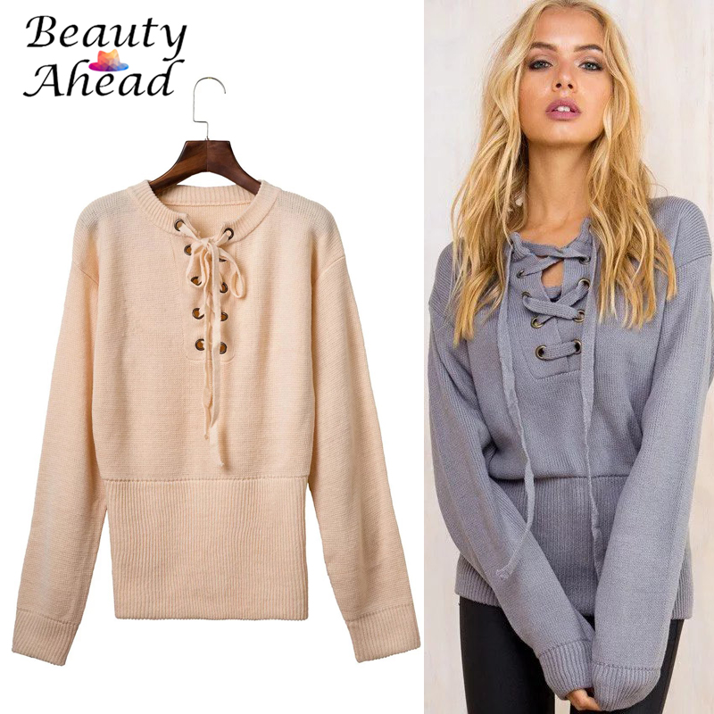 2016 Autumn Sexy women Lace up sweater ribbed waist knitwear Casual winter fluffy loose pullover white jumper outwear 5colors(China (Mainland))