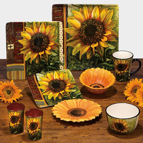 Ceramic fashion rustic american sunflower decoration plate for Art decoration international