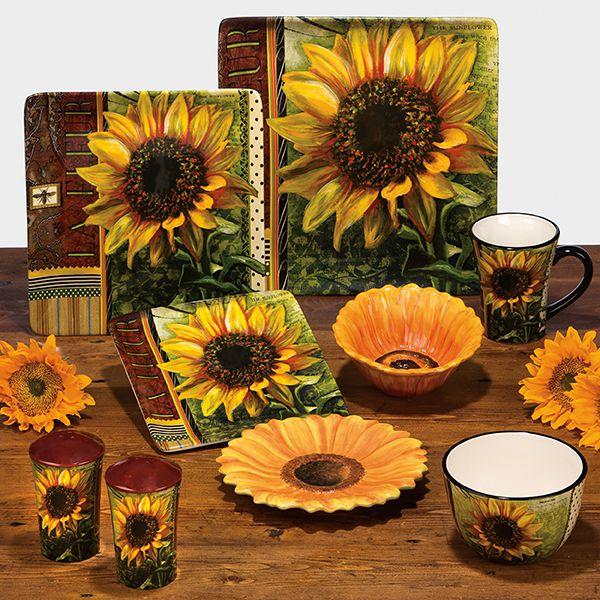 Ceramic fashion rustic american sunflower decoration plate for Sunflower home decor