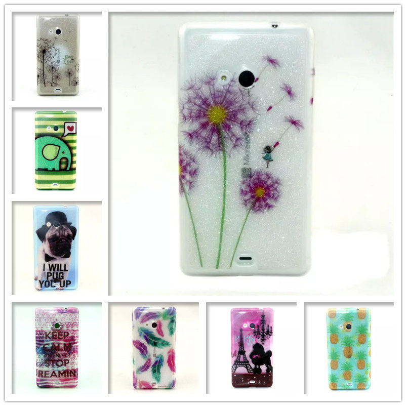 Luxury Shiny Glitter Cute Cartoon Dog Tower Bright Painted TPU For Microsoft Nokia Lumia 535 N535 Silicon Rubber Case Back Cover(China (Mainland))