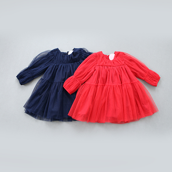 2-7Y, 2016 New Spring Fashion Girls Dress Three Quarter Sleeve Children Ball Gown Kids Mesh Dress Basic Dress Red and Dark Blue(China (Mainland))