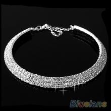Hot Sale New Women Crystal Rhinestone Collar Necklace Choker Necklaces Wedding Birthday Jewelry 008Q