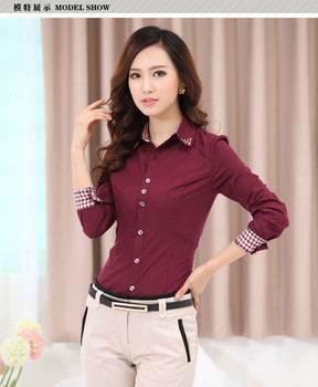 Brand New Good Quality Women's Clothes TurnDown Collar Dress female Shirt Long Sleeve Lady Professional Formal Blouse Tops S-4XL