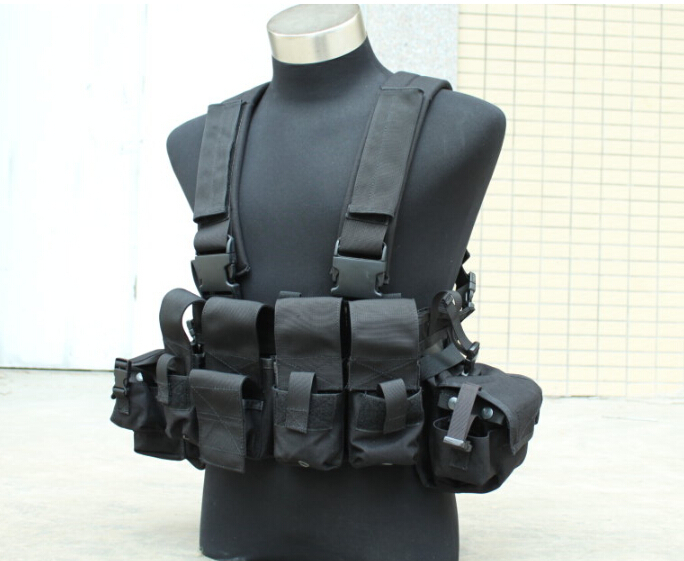 Фотография TMC Tactical Swat Combat Army 961A Black Chest Rig for airsoft paintball Mag Magazine