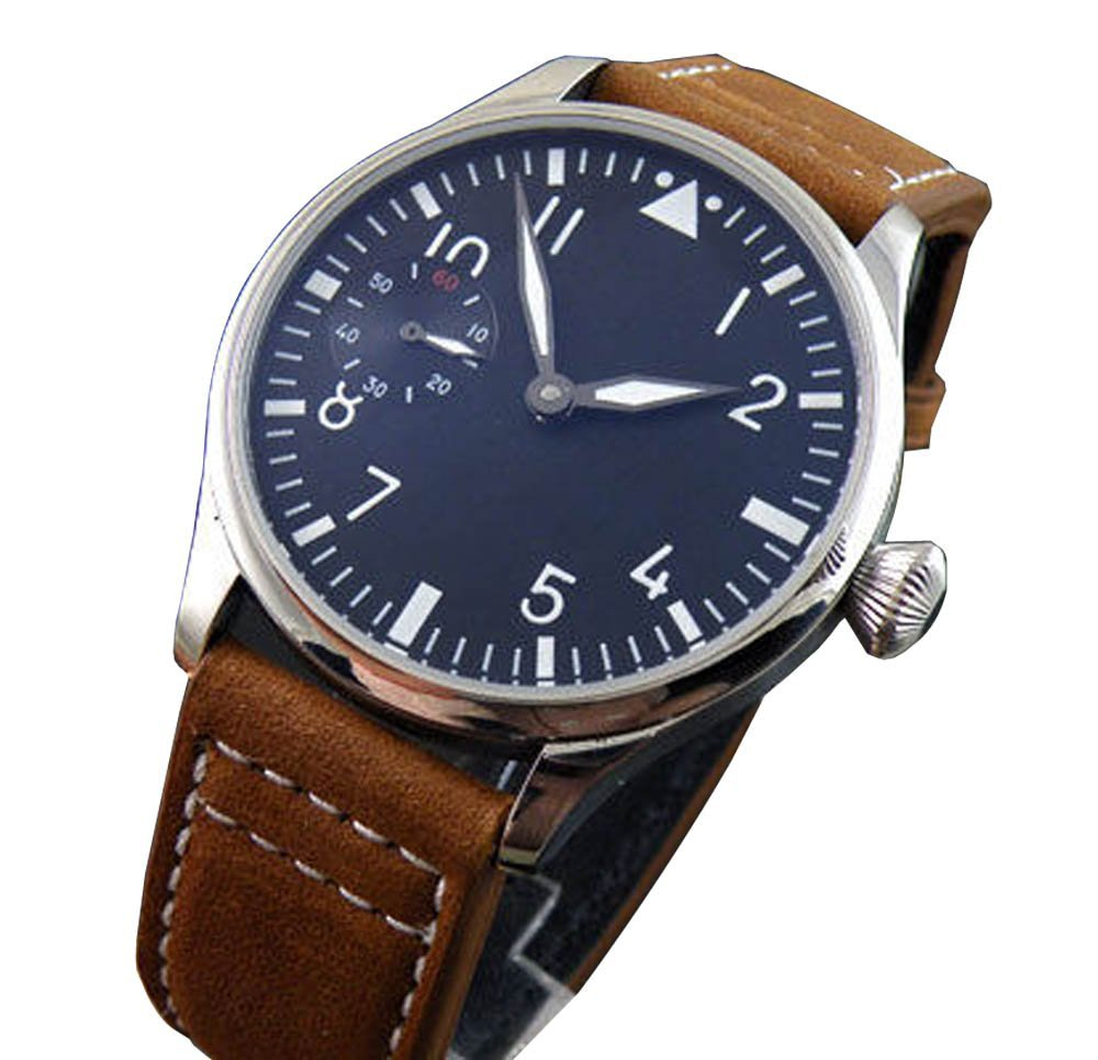 44mm Parnis Black Dial 6497 Manual Hand Winding Mens Womens Display Case Back Watch - parnis store