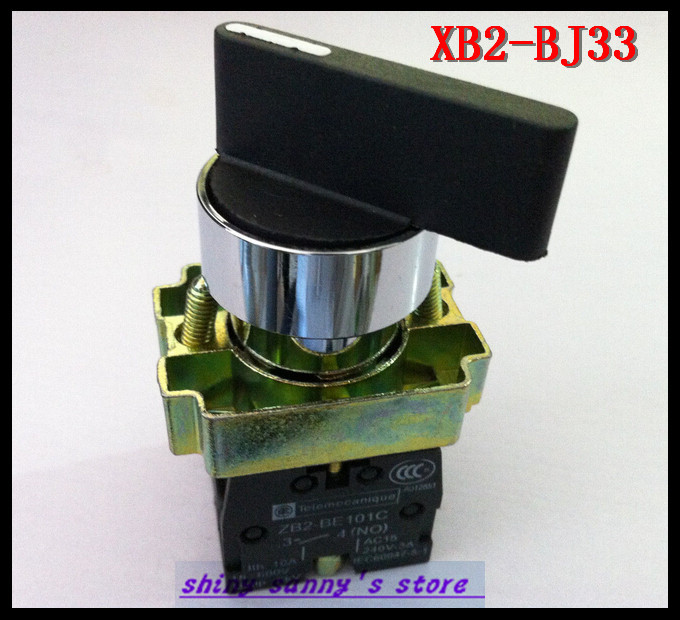 4Pcs/Lot XB2-BJ33 ON-OFF-ON 2NO Twist 3 Position Select Selector Switch Brand New(China (Mainland))
