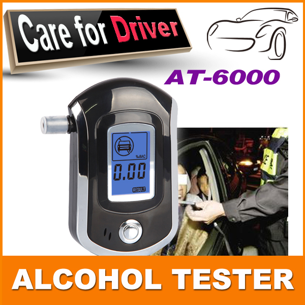 2015 NEW Hot selling fashion Professional Mini Police Digital LCD Breath Alcohol Tester Breathalyzer AT6000 Free shipping(China (Mainland))