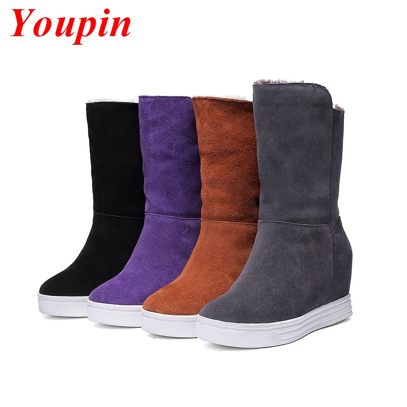 Boot 2015 Latest Winter Woman Calf Boots Warm Comfort Black /Gray /Yellow /Purple /Boots Genuine Leather Snow Boots Shoes Models(China (Mainland))