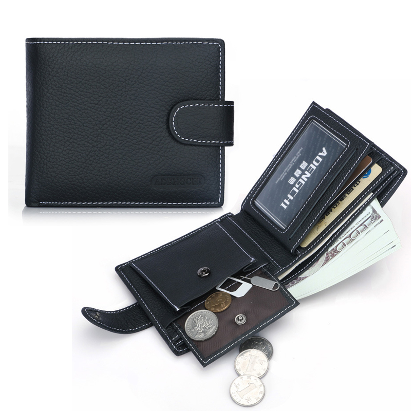 RFID Blocking UNew Genuine Leather Men's Wallets Antimagnetic Guard Theft Brush Black Hasp Coin Pocket Card Holder Purse