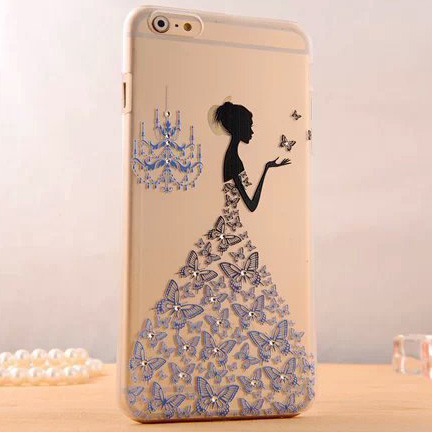 Butterfly Wedding Dress Girl Matte Transparent PC Phone Back Cover Glitter Rhinestone Diamond Phone Case For iPhone 5 5S Phones(China (Mainland))