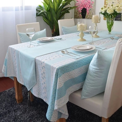 Romatic Country Style Light Blue Floral Print Table Cloth Hotel Home Wedding Party Banquet Decoration Customize(China (Mainland))