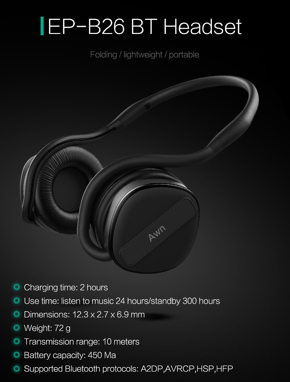Awn Wireless Headset Bluetooth 4.1 stereo Headphone with Built-in Mic earphone Sport Bluetooth Headphone for iPhone Samsung