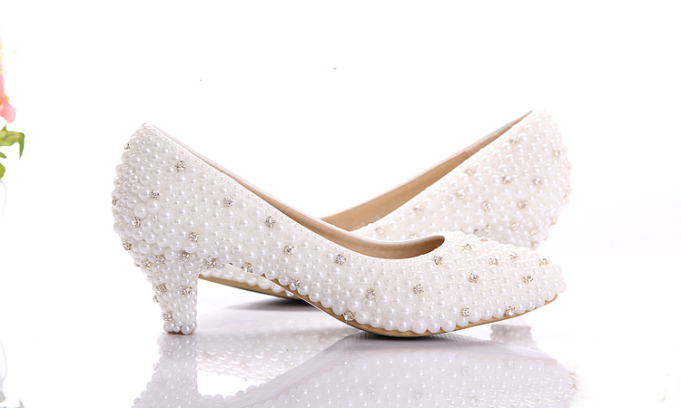 2015 Custom Make Large Size Small Heel Bridal Wedding Shoes White Pearl Low Heels Shoes