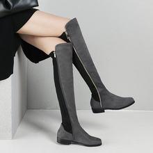 2018 Phụ Nữ Mùa Đông Của Giày Đế Bằng Đàn Da Đầu Gối Giày Cổ Cao Dây Kéo Thời Trang Mùa Thu Dài Cổ Cao Chất Lượng Giày người Phụ Nữ(China)