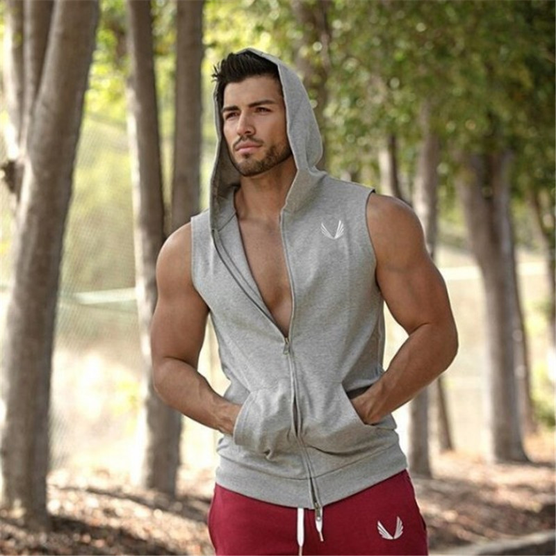 Men Cotton Hoodie Sweatshirts fitness clothes Gym bodybuilding men Sleeveless sport Tees Shirt Casual golds gym vest(China (Mainland))