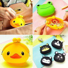 2015 New Fashion Lovely Kawaii Candy Color Cartoon Animal Women Girls Wallet Multicolor Jelly Silicone Coin