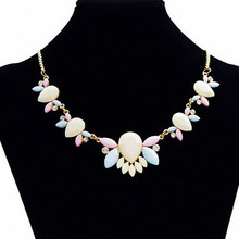 New 2015 Maxi Necklace Women Resin Flower Collares Gold Chain Choker Statement Necklaces & Pendants Jewelry Bijoux Joyeria