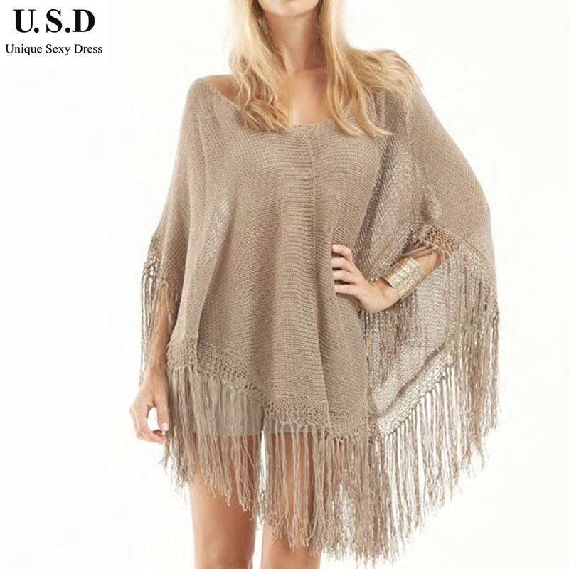 New Knitted Loose Bathing Suit Cover ups Fashion Women Sexy Tassel Beach Tuni...