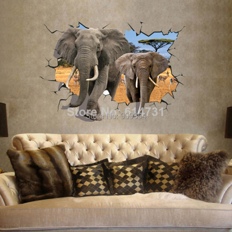 African animal elephants antelope wall sticker bedroom 3d African elephant home decor