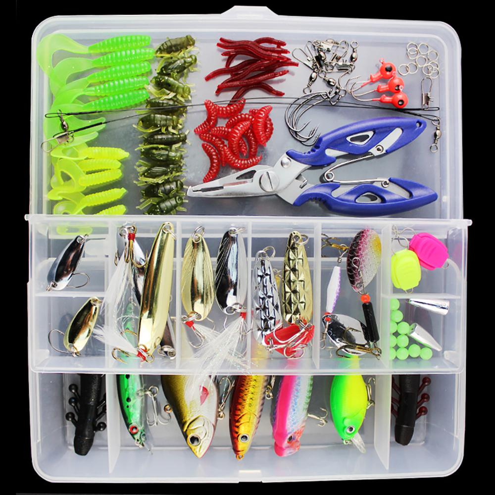 101pcs lure kit set spinner crankbait minnow popper vib for Fishing lure kits
