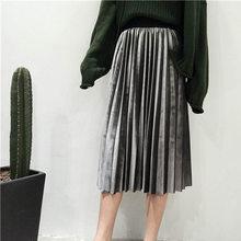 Danjeaner printemps 2019 femmes longue métallique argent Maxi jupe plissée Midi jupe taille haute Elascity décontracté fête jupe Vintage(China)
