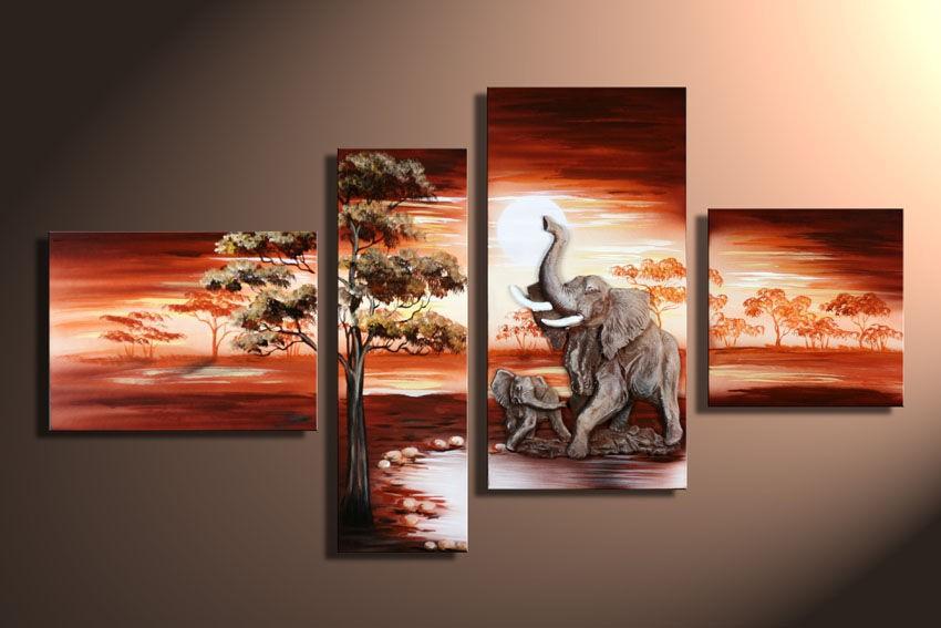 3 piece art sets hand painted african elephant canvas paintings landscape quadro home decoration. Black Bedroom Furniture Sets. Home Design Ideas