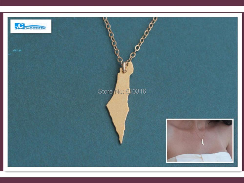 My aliexpress 18K Gold Silver Israel Map Necklace Women Geometric Accessories Pendant Necklaces bijoux de marque Women Jewelry(China (Mainland))