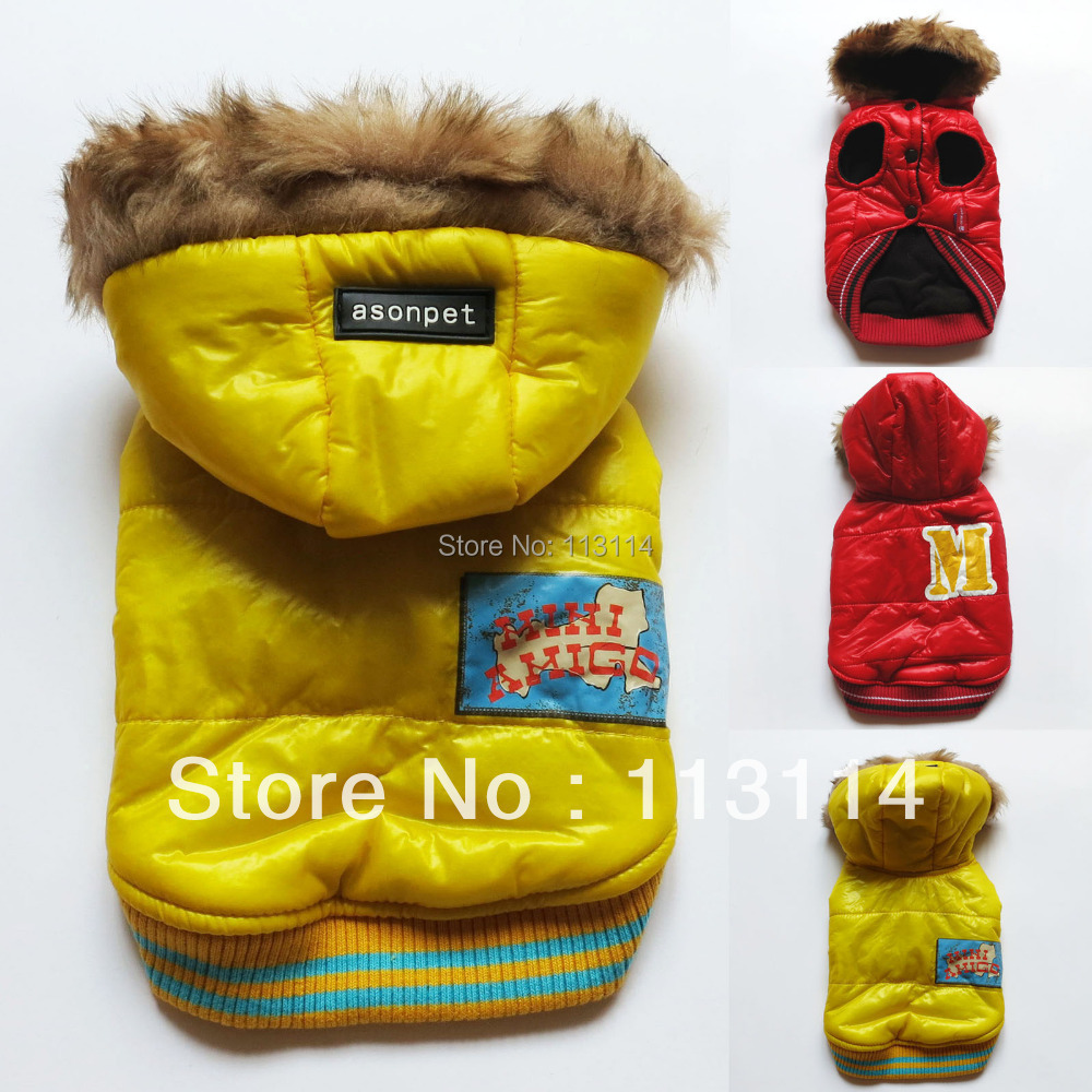 Red/ Yellow Faux Fur Dog Coat Snowsuit Jacket Hoodies Pet Apparel Dog Clothes XS S M L XL free shipping(China (Mainland))
