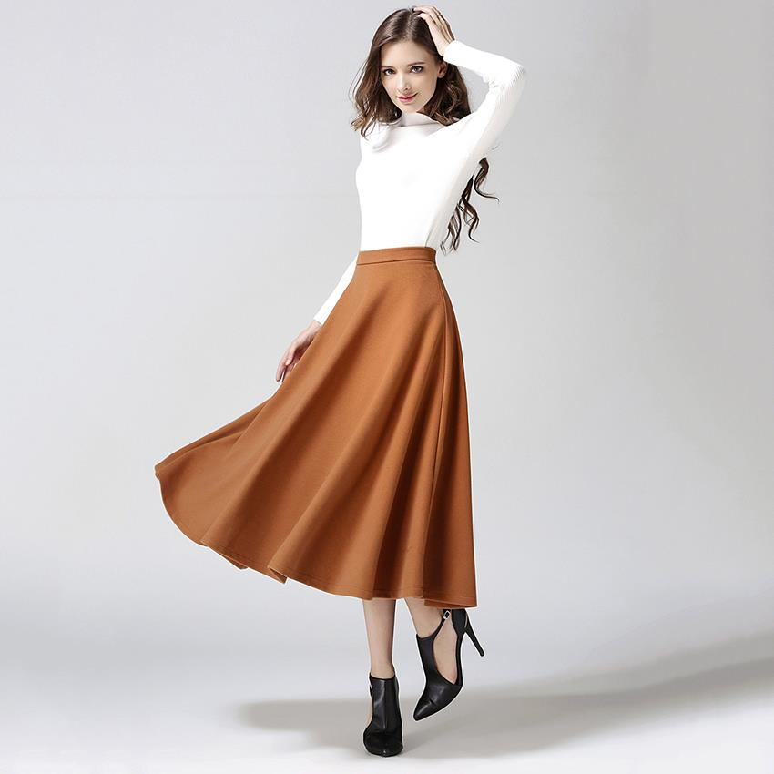2015 autumn winter wool skirt for plus size solid
