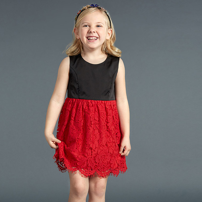 Фотография 2016 new cute style summer polyester kids girl party lace a-line dress sleeveless kids dresses for girls #160523_r59