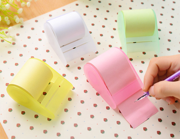 3pcs/lot New Arrival Sticky Post It Note Paper with cut holder Memo sticker Pad Gift Office Supplies cut size as you will(China (Mainland))