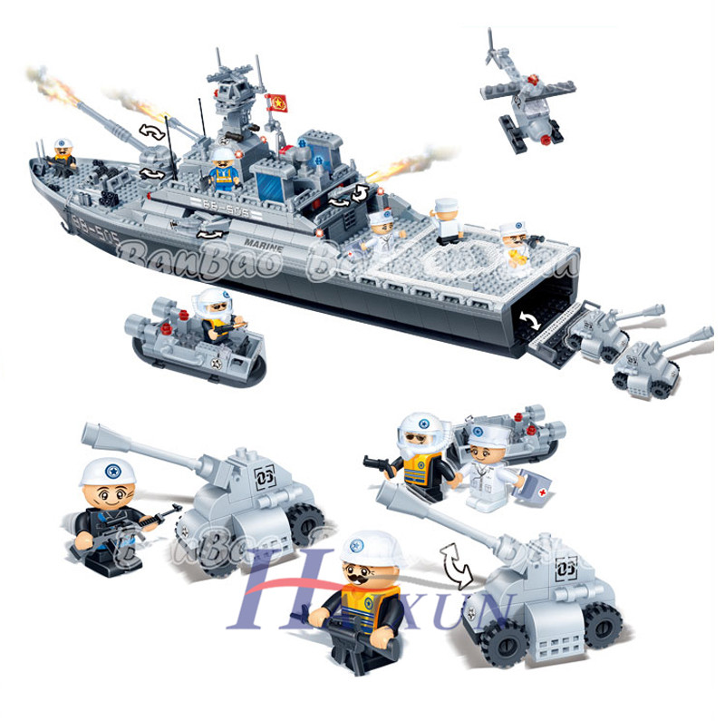 BanBao 8413 85Learning & Education 3D DIY Large Enlighten Brick Plastic Building Blocks Sets Landing Warship Children Gift - HAIXUN Toys store