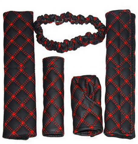 A31 Car Auto 5 1 Gear Shift Knob Hand Brake Rearview Mirror Seat Belt Cover Red - 7www store