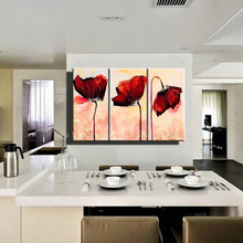Buy Hand painted Modern wall decor painting 3 piece canvas wall art abstract red poppy canvas picture oil painting living room for $29.90 in AliExpress store
